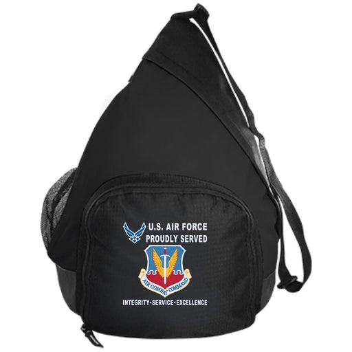 US Air Force Air Combat Command Proudly Served-D04 Embroidered Active Sling Pack