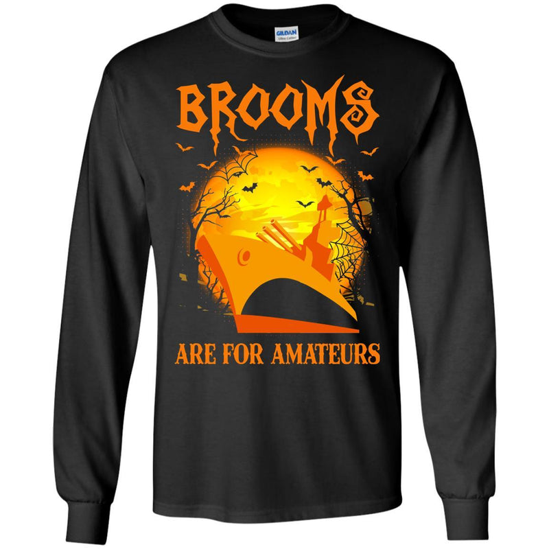 Brooms Are For Amateurs US Navy Men T Shirt On Front