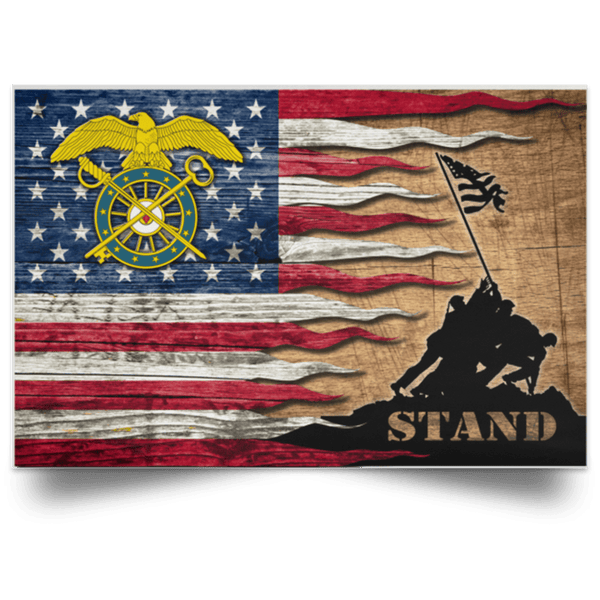 US Army Quartermaster Corps Stand For The Flag Satin Landscape Poster