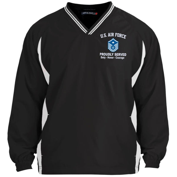 US Air Force E-7 First sergeant E7 Proudly Served Embroidered Sport-Tek Tipped V-Neck Windshirt