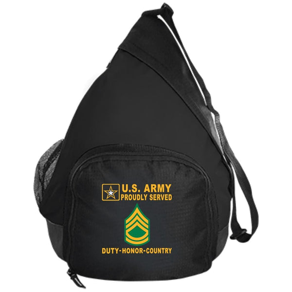 US Army E-7 Sergeant First Class E7 SFC - Proudly Served-D04 Embroidered Active Sling Pack