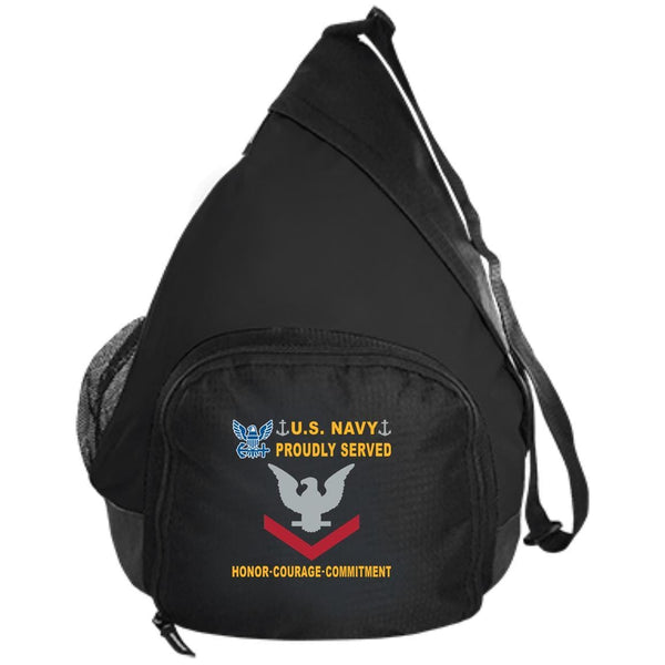 US Navy E-4 Petty Officer Third Class E4 PO3 Collar Device Proudly Served-D04 Embroidered Active Sling Pack