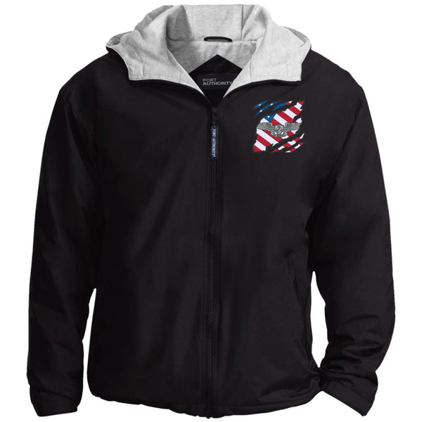 Navy Enlisted Aviation Warfare Specialist And American Flag At Heart Embroidered Team Jacket