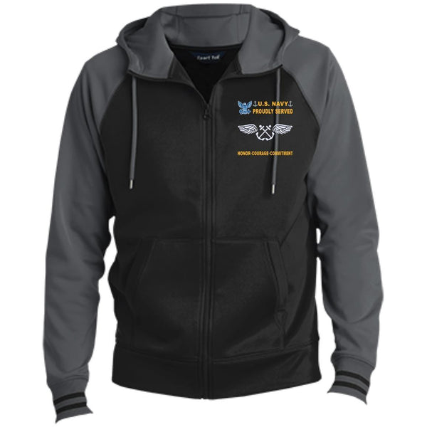 US Navy Aviation Boatswain's Mate AB - Proudly Served-D04 Embroidered Sport-Tek® Full-Zip Hooded Jacket