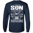 "Military T-Shirt ""Taught Son Stand up for Country"" Men Back"