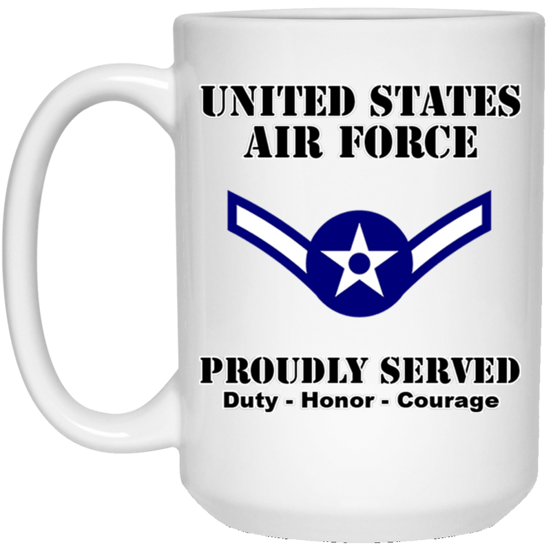 US Air Force E-2 Airman Amn E2 Ranks Enlisted Airman Ranks White Coffee Mug - Stainless Travel Mug