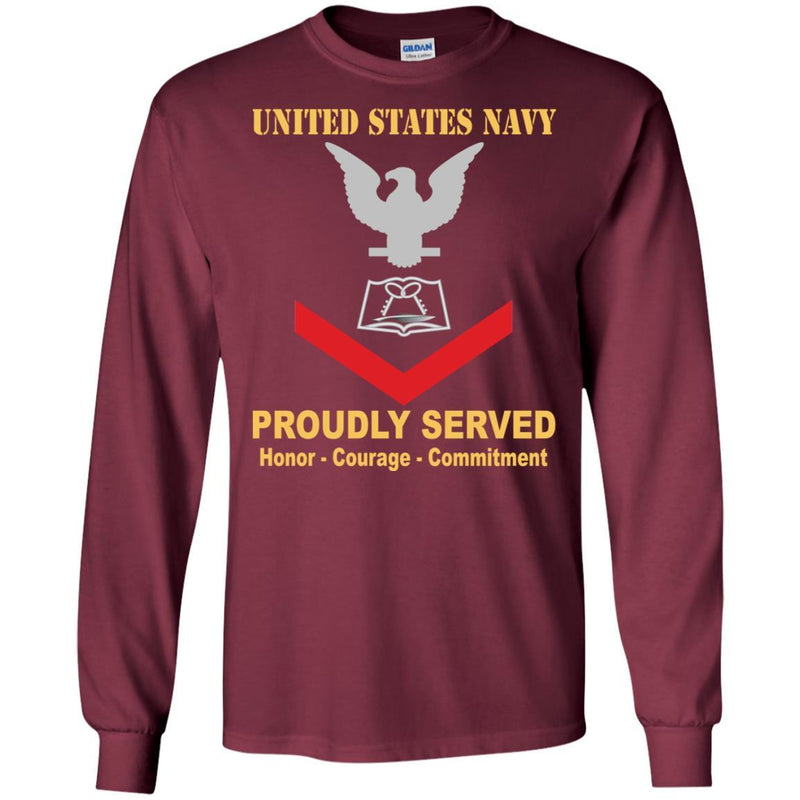 Navy Culinary Specialist Navy CS E-4 Rating Badges Proudly Served T-Shirt For Men On Front