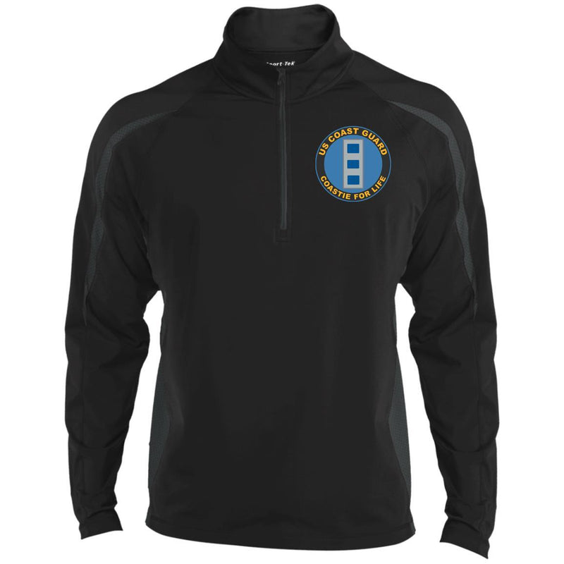 US Coast Guard W-4 Chief Warrant Officer 4 W4 CWO-4 Chief Warrant Officer Coastie For Life Embroidered Sport-Tek Pullover V-Neck Windshirt