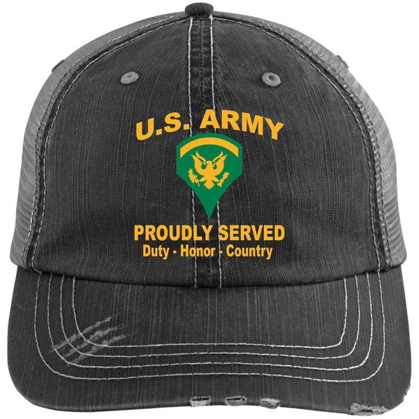 US Army E-5 SPC E5 SP5 Specialist 5 Specialist 2nd Class Proudly Served Military Mottos Embroidered Distressed Unstructured Trucker Cap