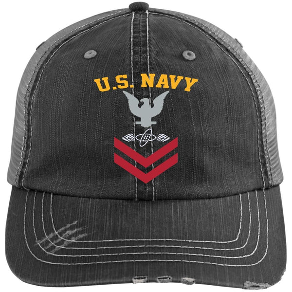 US Navy Aviation Electronics Technician AT E-5 Rating Badges Embroidered Distressed Unstructured Trucker Cap