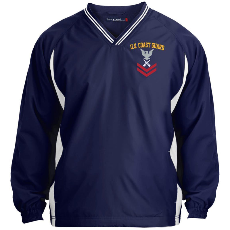 US Coast Guard Gunner's Mate GM E-5 Rating Badges Embroidered Sport-Tek Tipped V-Neck Windshirt