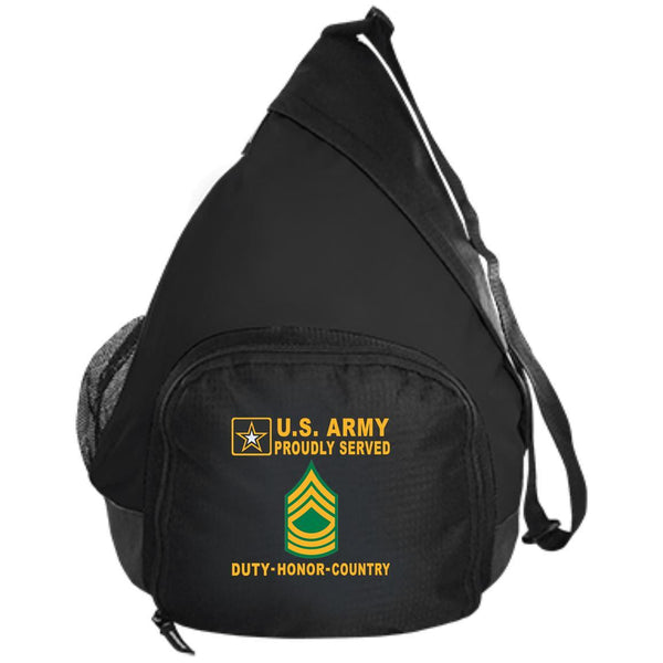 US Army E-8 Master Sergeant E8 MSG - Proudly Served-D04 Embroidered Active Sling Pack