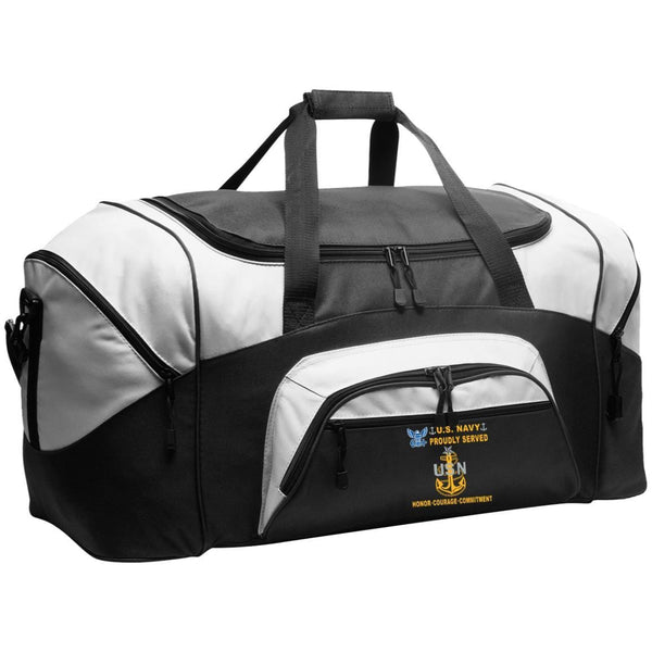 US Navy E-8 Senior Chief Petty Officer E8 SCPO Senior Noncommissioned Officer Collar Device Proudly Served-D04 Embroidered Duffel Bag