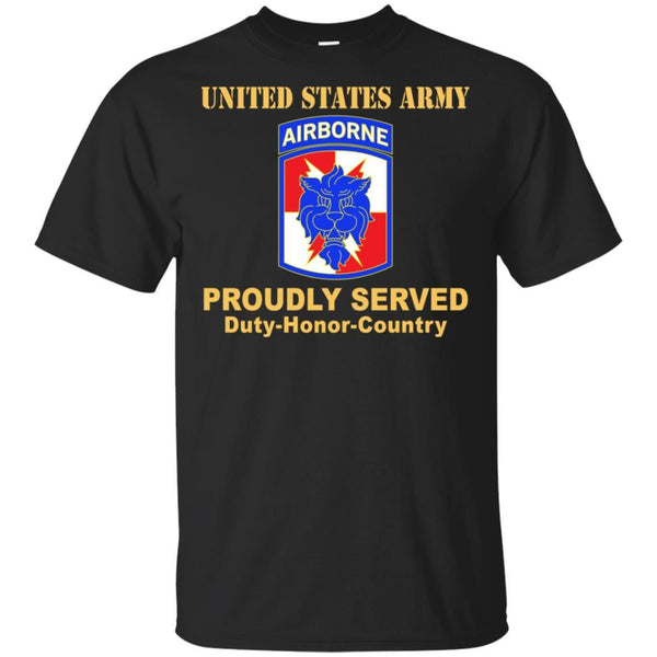 US ARMY 35TH SIGNAL BRIGADE W AIRBORNE TAB- Proudly Served T-Shirt On Front For Men