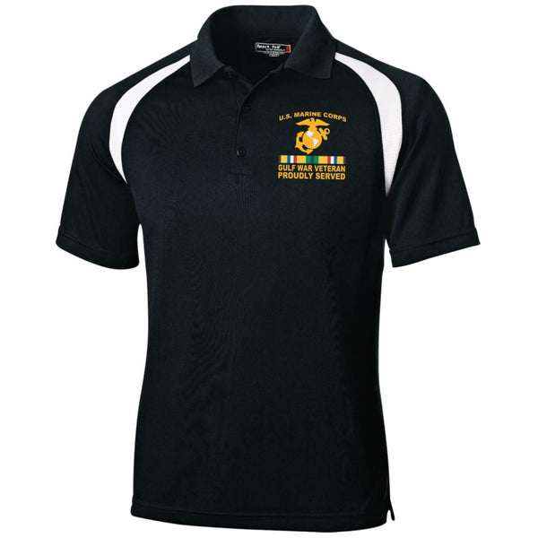 M.Corps Gulf War Veteran Proudly Served Embroidered Sport-Tek Moisture-Wicking Tag-Free Golf Shirt