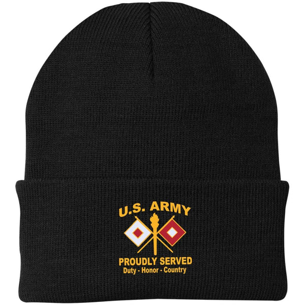 US Army Signal Corps Proudly Served Military Mottos Embroidered Port Authority Knit Cap