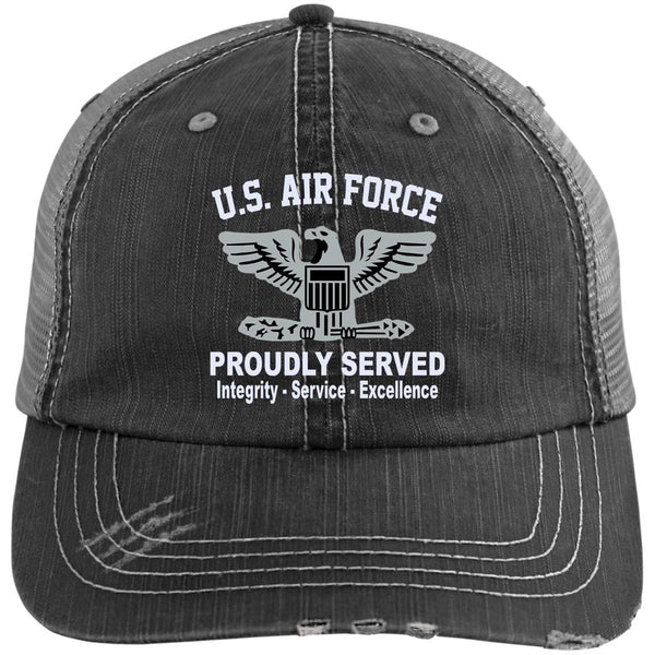 US Air Force O-6 Colonel Col O6 Field Officer Core Values Embroidered Distressed Unstructured Trucker Cap