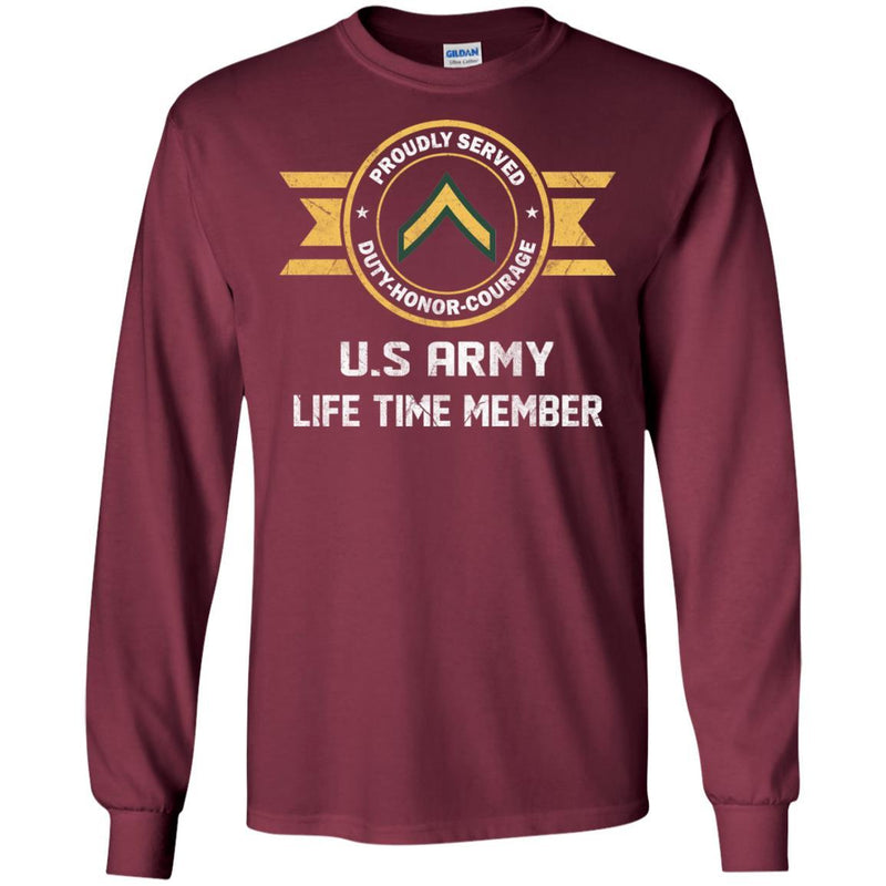 Life Time Member - Army E-2 PV2 E2 Private Second Class Ranks Men T Shirt On Front