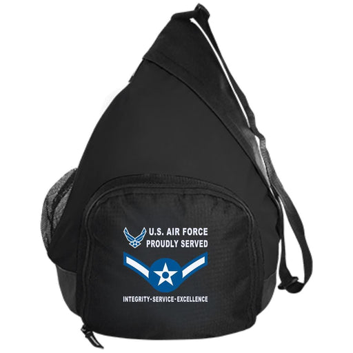 US Air Force E-2 Airman Amn E2 Enlisted Airman Proudly Served-D04 Embroidered Active Sling Pack