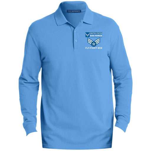 US Air Force E-4 Senior Airman SrA E4 Enlisted Airman- Fly Flight Win Embroidered Port Authority® LS Polo