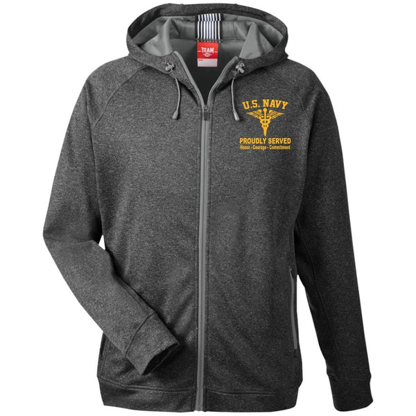 US Navy CWO Hospital Corpsman HM Collar Device TT38 Team 365 Men's Heathered Performance Hooded Jacket