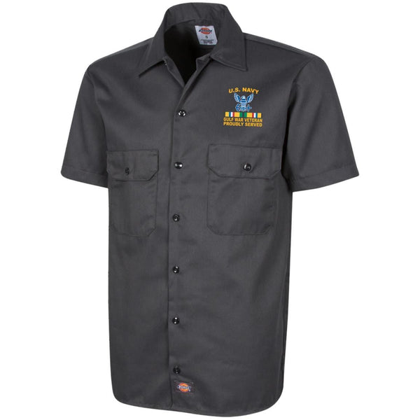 US Navy Gulf War Veteran Proudly Served Embroidered Dickies Men's Short Sleeve Workshirt