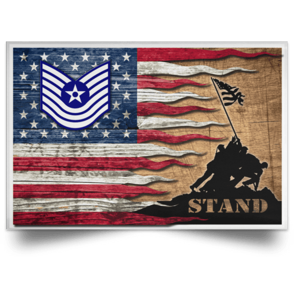 US Air Force E-7 Old Style Rank Stand For The Flag Satin Landscape Poster