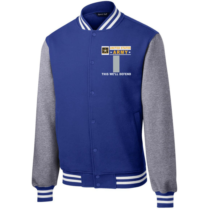 US Army O-2 First Lieutenant O2 1LT Commissioned Officer- This we'll defend Men/Women Sport-Tek® Fleece Letterman Jacket