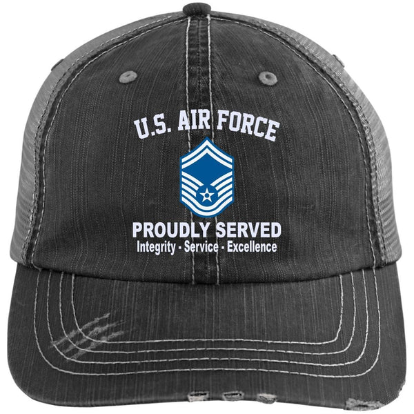 US Air Force E-8 Senior Master Sergeant SMSgt E8 Noncommissioned Officer Core Values Embroidered Distressed Unstructured Trucker Cap