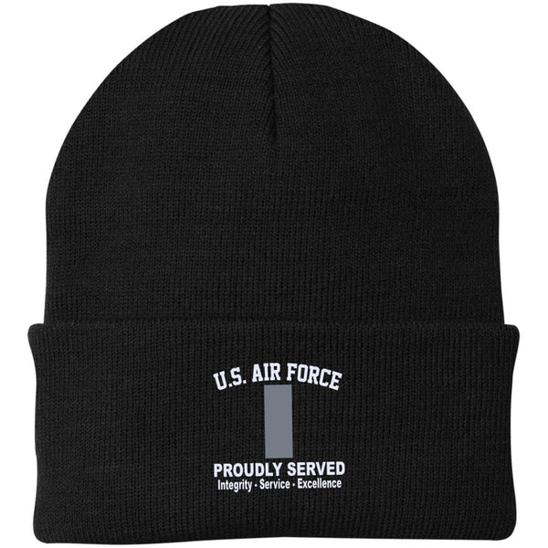 US Air Force O-2 First Lieutenant 1st L O2 Commissioned Officer Core Values Embroidered Port Authority Knit Cap