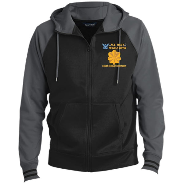 US Navy O-4 Lieutenant Commander O4 LCDR Junior Officer Proudly Served-D04 Embroidered Sport-Tek® Full-Zip Hooded Jacket