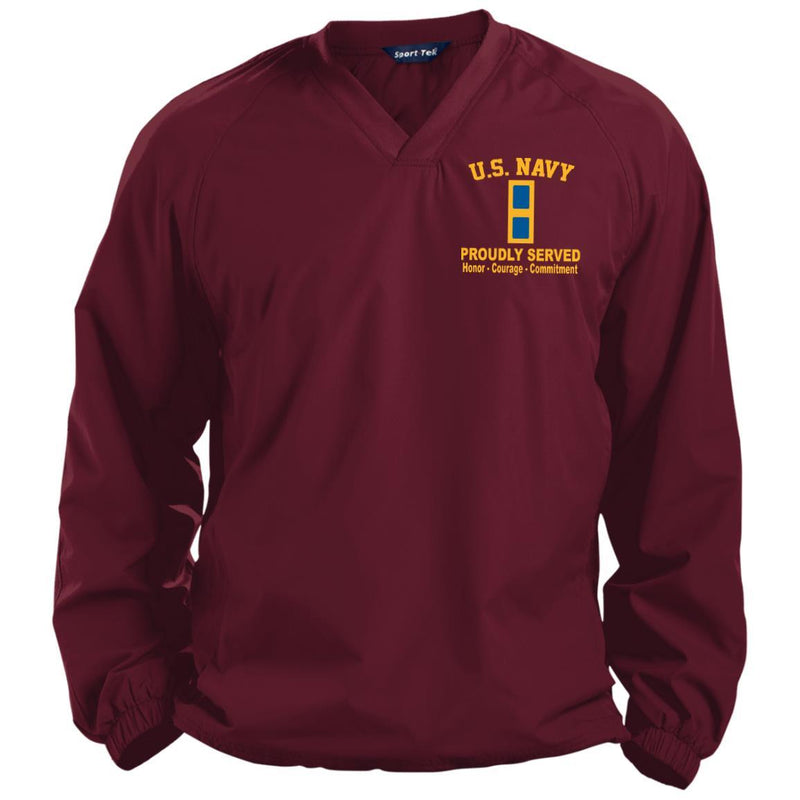 US Navy W-1 Warrant Officer W1 WO1 Proudly Served Embroidered Sport-Tek Pullover V-Neck Windshirt