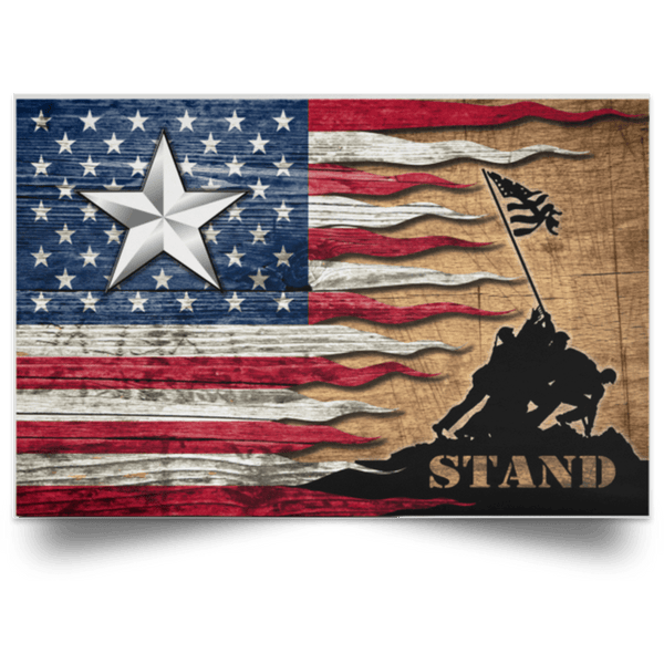 US Army O-7 Brigadier General O7 BG General Officer Stand For The Flag Satin Landscape Poster