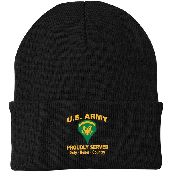 US Army E-5 SPC E5 SP5 Specialist 5 Specialist 2nd Class Proudly Served Military Mottos Embroidered Port Authority Knit Cap