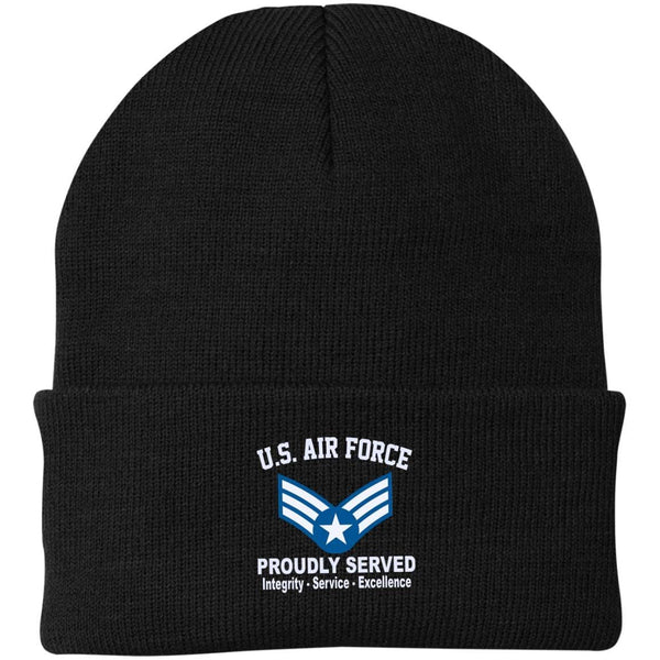 US Air Force E-4 Buck Sergeant Proudly Served Embroidered Port Authority Knit Cap