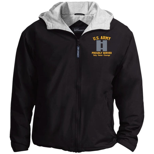 US Army O-3 Captain O3 CPT Commissioned Officer Embroidered Port Authority® Hoodie Team Jacket