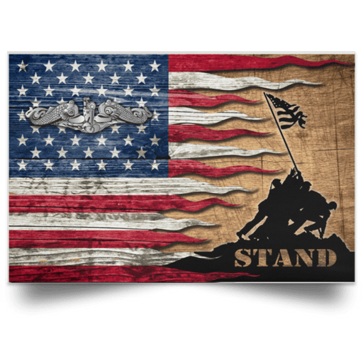 US Navy Submarine Enlisted Stand For The Flag Satin Landscape Poster