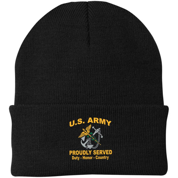 US Army Public Health Service Proudly Served Military Mottos Embroidered Port Authority Knit Cap