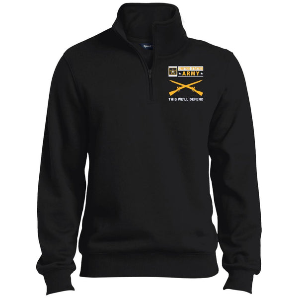 US Army Infantry- This we'll defend Embroidered 1/4 Zip Pullover