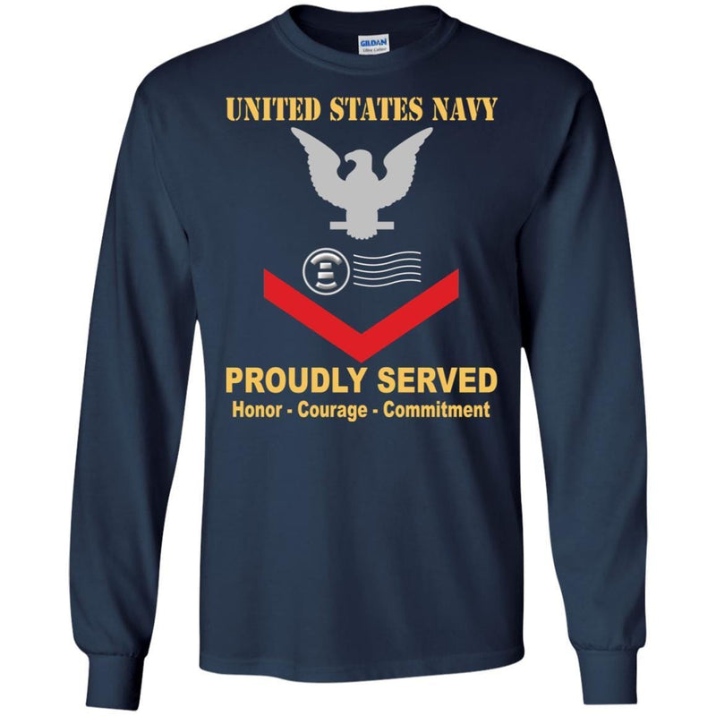 Navy Postal Clerk Navy PC E-4 Rating Badges Proudly Served T-Shirt For Men On Front