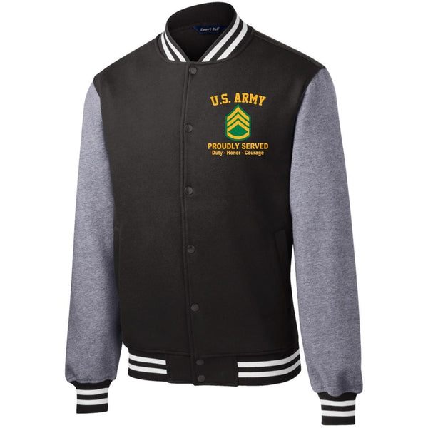US Army E-6 Staff Sergeant E6 SSG Noncommissioned Officer Embroidered Sport-Tek Fleece Letterman Jacket