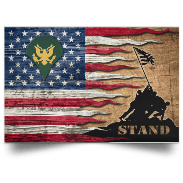 US Army E-4 SPC E4 SP4 Specialist 4 Specialist 3rd Class Stand For The Flag Satin Landscape Poster