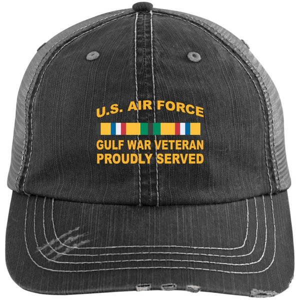 US Air Force Gulf War Veteran Proudly Served Embroidered Distressed Unstructured Trucker Cap
