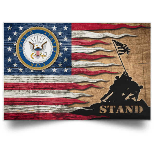 US Navy Stand For The Flag Satin Landscape Poster