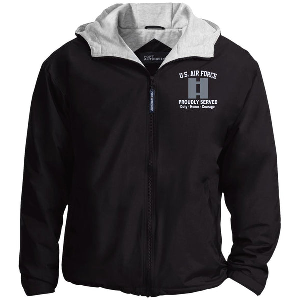 US Air Force O-3 Captain Capt O3 Commissioned Officer Proudly Served Embroidered Port Authority® Hoodie Team Jacket