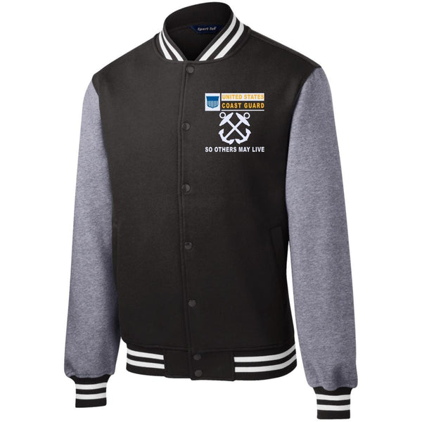US Coast Guard Boatswains Mate BM- So others may live Men/Women Sport-Tek® Fleece Letterman Jacket