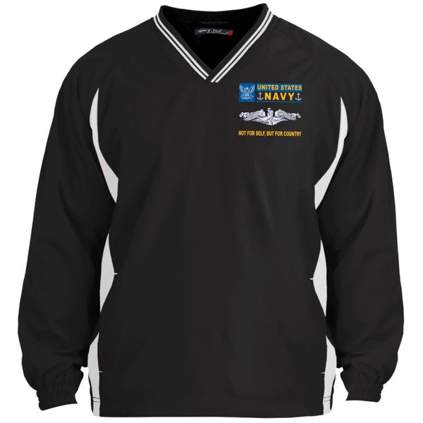 US Navy Submarine Not For Self But For Country Sport-Tek Tipped V-Neck Windshirt
