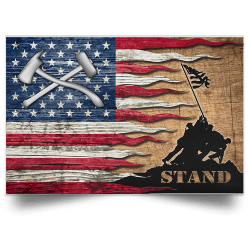 US Coast Guard Damage Controlman DC Logo Stand For The Flag Satin Landscape Poster