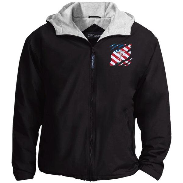 US Navy Construction Electrician CE And American Flag At Heart Embroidered Team Jacket