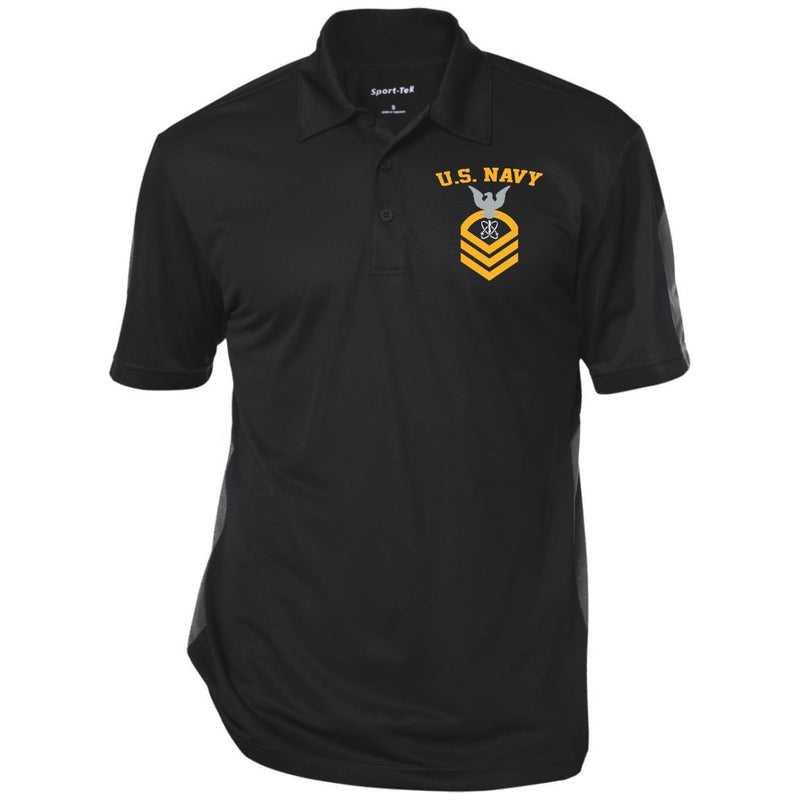 US Navy Electronics Warfare Technician EW E-7 Rating Badges Embroidered Sport-Tek Performance Polo Shirt